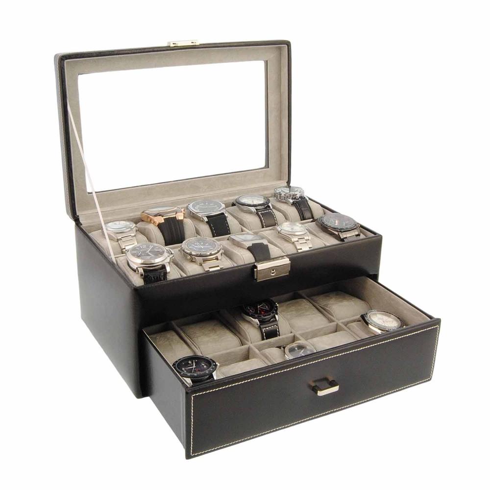 Estuche de piel para guardar 20 relojes cajas para - Cajas para guardar herramientas ...